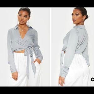 Grey Wrap Blouse/Top